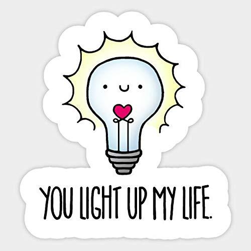 Lightbulb Bulb Positive Thinking Lighten Up Vinyl Phone Laptop Decal Sticker Set of 2