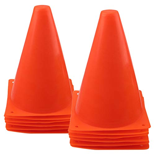 Mirepty 7 Inch Plastic Traffic Cones Sport Training Agility Marker Cone for Soccer, Skating, Football, Basketball, Indoor and Outdoor Games (Orange, 12 Pack)