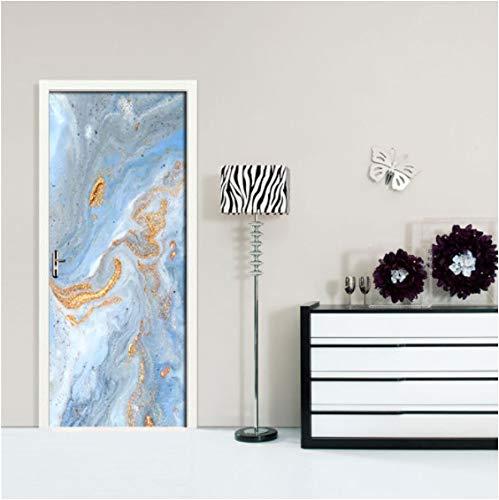 ZPCR Golden Beach Art 3D Door Stickers Wallpaper for Living Room Bedroom Home Decor Poster PVC Self Adhesive Mural Wall Sticker Decals