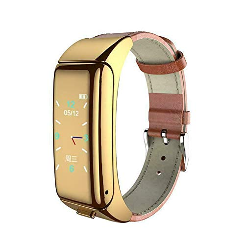 XXY Pulsera Inteligente + Auriculares Bluetooth Rastreador De Fitness Inalámbrico Reloj De Ritmo Cardíaco Monitoreo De Salud Monitoreo Inteligente (Color : Gold PU Strap)
