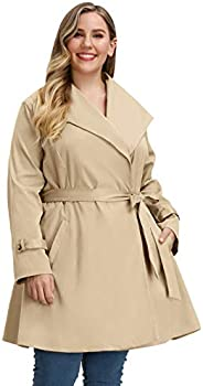 Hanna Nikole Women Plus Size Trench Coat Long Lapel Collar Jacket