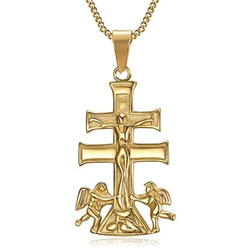 BOBIJOO JEWELRY - Collar Colgante Cruz de Caravaca de la Cruz, de 44 mm de Acero Chapado en Oro Cadena de Oro