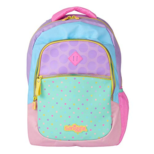 Smiggle Kids School Backpack from The Block Collection for Boys and Girls with 3 Zipped compartments and Drink Bottle Sleeve | Pastel