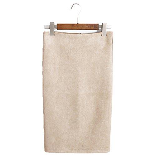 ShallGood Mujeres Falda Midi Lápiz Cintura Alta Elasticidad Bodycon Falda Oficina Color Sólido Slim Stretch Skirt Corta Falda Beige Large