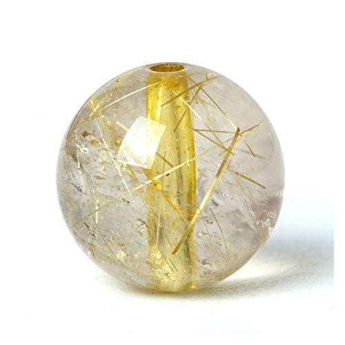 Linyuex Natural de Cristal de Cuarzo rutilado Cuentas de Piedras de Oro del Pelo Original de la Piedra Preciosa Fortuna Suerte Paz Amuleto talón 6/8/10 mm for la Pulsera