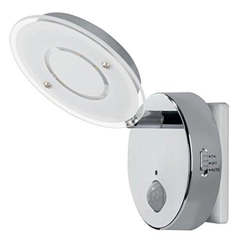 Trango Sensor LED luz nocturna TG2636-018 en cromo con función automática directa 230V con sensor de movimiento I luz de seguridad I lámpara de enchufe