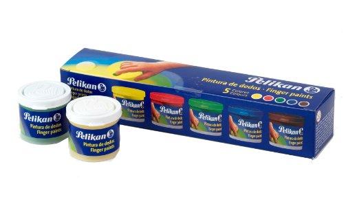 Pelikan 63302- Set de pintura de dedos 40 ml: amarillo, rojo, verde, azul y marrón