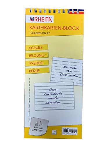 RHEITA Karteikarten-Block liniert DIN A7 mit 120 Karten 170g/m² ideal für Schule Bildung Freizeit u. Beruf