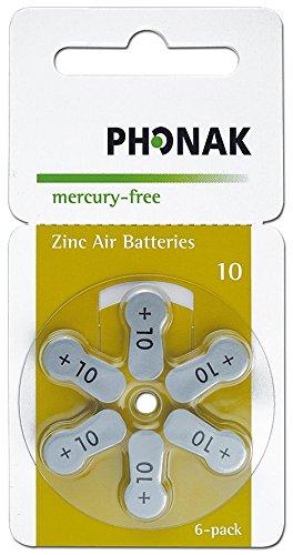 60x Phonak Powerone Mercury Free Hörgerätebatterien Typ 10 gelb