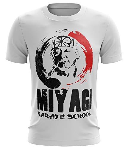 Stylotex Fitness T-Shirt Herren Sport Shirt Miyagi Karate School Gym Tshirts für Performance beim Training | Männer Kurzarm | Funktionelle Sport Bekleidung, Größe:L, Farbe:Weiss