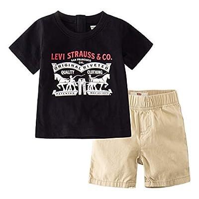 Levi's Baby Boys Graphic T-Shirt and Shorts 2-Piece Outfit Set, Black/Khaki, 18M