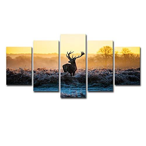 ChuangYing HD Imprimir Pegatinas Moderna casa Pintura de la Pared Etiqueta de la Pared 5 mañana de Invierno el Sol Vida Silvestre Elk Etiqueta de la Pared
