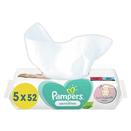 Pampers Sensitive Baby Feuchttücher, 260 Tücher (5 x 52) Für Empfindliche Babyhaut, Dermatologisch Getestet, Baby Erstausstattung Für Neugeborene