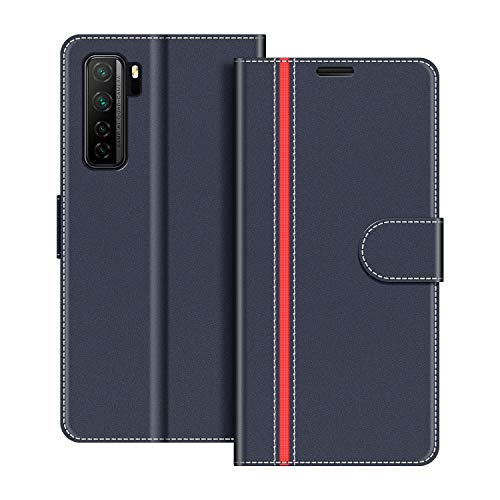 COODIO Handyhülle für Huawei P40 Lite 5G Handy Hülle, Huawei P40 Lite 5G Hülle Leder Handytasche für Huawei P40 Lite 5G Klapphülle Tasche, Dunkel Blau/Rot