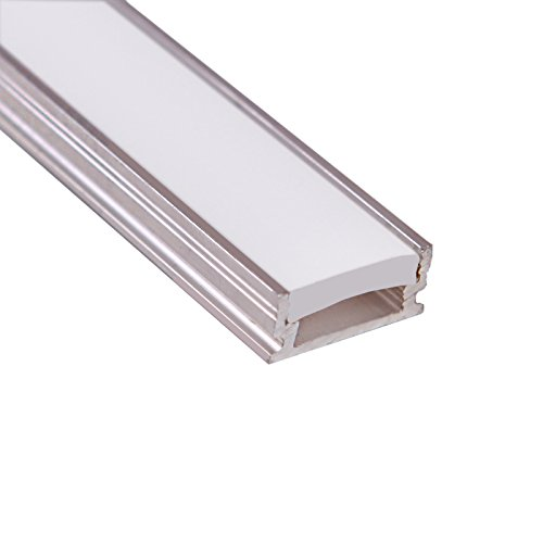5 x LED aluminium profile (raw, non-anodized) with strong FROSTED diffuser for floor lighting applications, length: 1000mm; LED Profil mit Abdeckung Opal (Diffusor) für LED Streifen Länge 1m