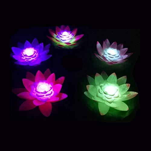 Uonlytech LED Schwimmlicht, wasserdicht Lotus Flower Pool Licht, LED Teich Licht für Pool Garden Outdoor (6Pcs, zufällige Farbe)