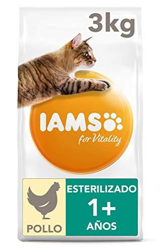 IAMS for Vitality Light in Fat/Esterilizado Alimento para gatos con pollo fresco, 3 kg