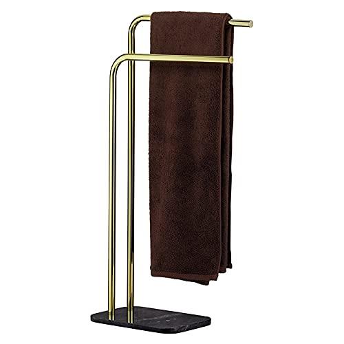 kela 20020 Porte-Serviettes Luxe, métal doré et marbre Noir, Hauteur 80,5 cm, Liron, Or, 30x20x80,5 cm