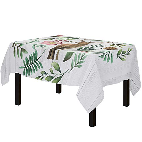 Yun Nist Cotton Linen Table Cloths Watercolor Reindeer with Branches, Spillproof Tables Cover for Kitchen Dining Banquet Party Decor Retro Wooden Plank