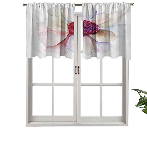 Hiiiman Cortina de ventana con filtro de luz, cenefa de barra, diseño de flores con pétalos tiernos románticos, jardín de ensueño, juego de 1, 137 x 45 cm para ventanas, dormitorio, cocina o baño