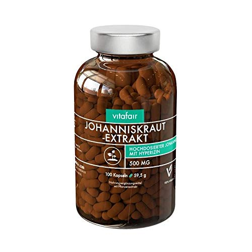 Johanniskraut Extrakt - 500mg pro Tagesdosis - 100 Kapseln - 0,3{e8738cc31c1052037f53fefbdeb499d433b795db106e743028a57fa2af495914} Hypericin = 1,5 mg - Vegan - Ohne Magnesiumstearat - Made in Germany