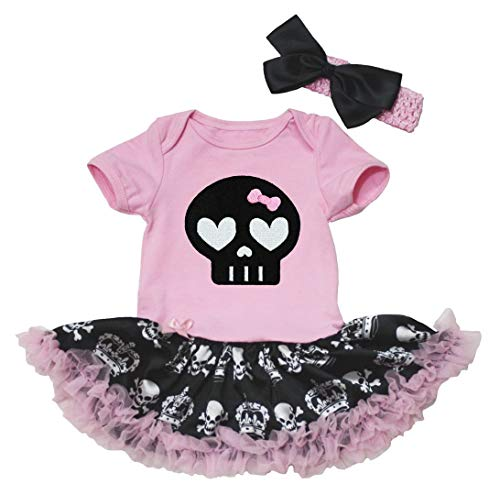 Petitebelle - Body para bebé, diseño de calavera, color negro Negro Calavera de corona rosa/negra...