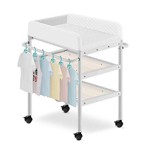Wickeltischaufsatz Wickeltisch, Baby-Pflegestation Mit Massivholzrahmen Und Tragbarem Roller Wheel Touch Massagetisch Wickeltische & -kommoden (Color : B)
