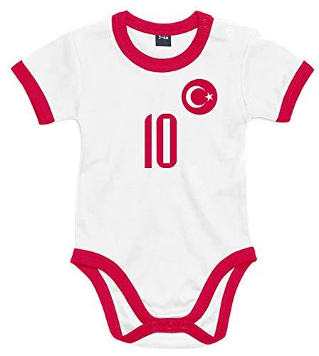 nationshirt Baby Body Türkei Trikot Look - Forma Bebek Bodysuit Ringer T-Shirt - No.10 Milli Takim Türkiye BR (6/12 Monate)