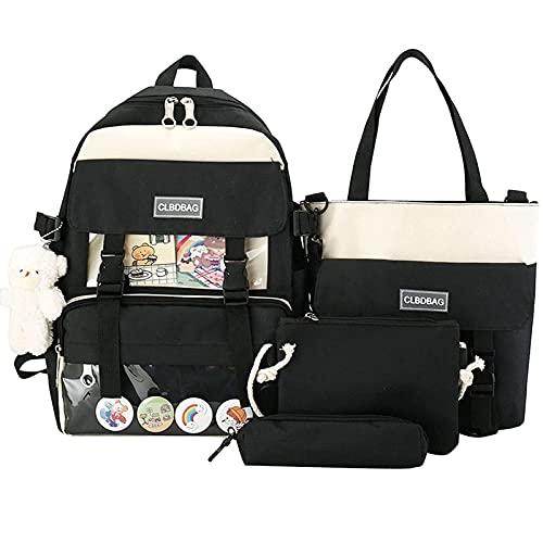 Set di 4 zaini per la scuola per ragazzi e ragazze, zaino per la scuola con design ergonomico in tela Backpack Daypacks e borsa per il pranzo, Nero , Set per la scuola