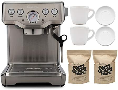 Breville BES840XL The Infuser Espresso Machine with Whole Bean Coffee 2 Pounds and 2x Cup and product image