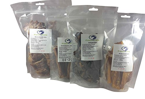 Food4Pets Hundesnack Mix 1 - Ochsenziemer,Geflügelmägen,Rindernackensehne, Rinderstrossen