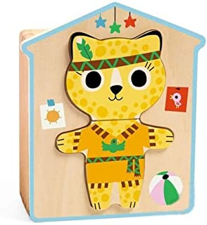 Djeco 6 Wooden Jigsaw Puzzle Dressup Mix Game - 3 Pieces # 01678