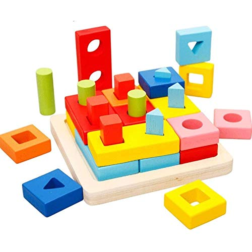 Zeyujie Forma Conjunto de coincidencia de columnas Bloques de construcción de la placa de inteligencia de madera Montessori Ayudas de enseñanza infantil, juguetes para bebés, juguetes de los bloques d