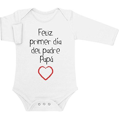 Regalo - Feliz Primer día del Padre Papá Body bebé Manga Larga