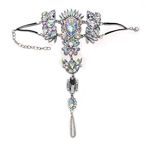 Pulsera de tobillera bohemia exagerada, cadena de dedo ajustable de diamantes de imitación coloridos para mujer, joyería de playa, 2