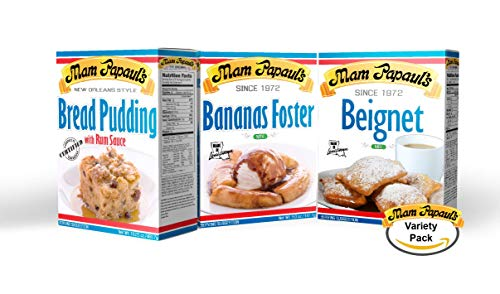 Dessert Combo Pack (1) Bread Pudding Mix, (1) Bananas Foster Mix, (1) Beignet Mix
