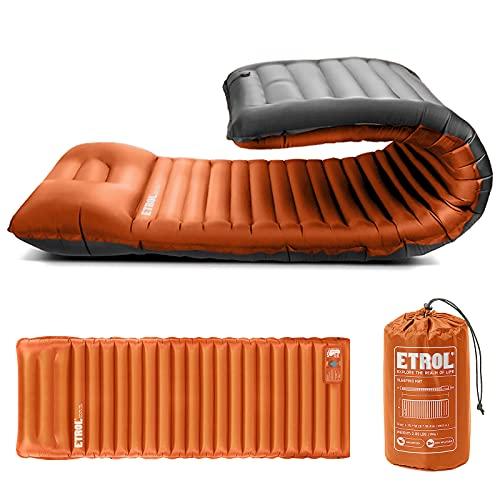 """ETROL Camping Isomatte - 2 in 1 Aufblasenden Camping Pads mit Kissen (78 \""""x 28\""""), leichte, Dicke 4 \""""Kompaktmatte für das Reisen mit dem Auto - Ripstop, Anti-Leakage, wasserdicht für Zelt Hängematte"""