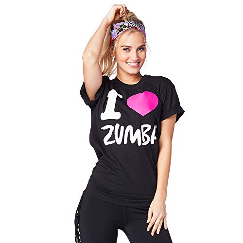Zumba Activewear Fitness Unisex Workout Tops Comfy Athletic Sleeve Black Tee