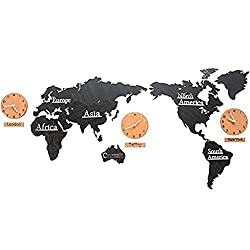 WINGOFFLY Creative DIY Home Decoration World Map Wall Clocks World Time Hanging Clocks (Black 53)