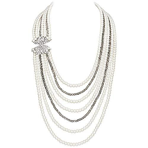 Coucoland 1920s Damen Halskette Hochzeit Braut Schmuck Accessoires Imitation Perlen Kette Retro Stil Gatsby Kostüm Zubehör (Original)