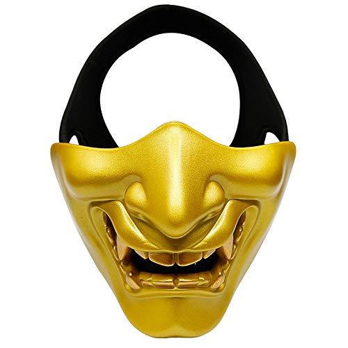 YZT QUEEN Maschera di Halloween, Maschera Tattica Horror per Adulti Uomini e Donne Mezza Maschera Costume Travestimento Accessori,Gold