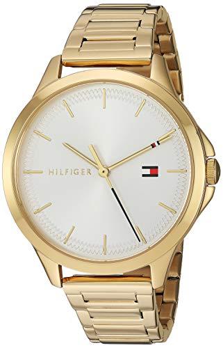 Tommy Hilfiger Relógio feminino de quartzo com pulseira de aço inoxidável, banhado a ouro, 15,4 (modelo: 1782086)