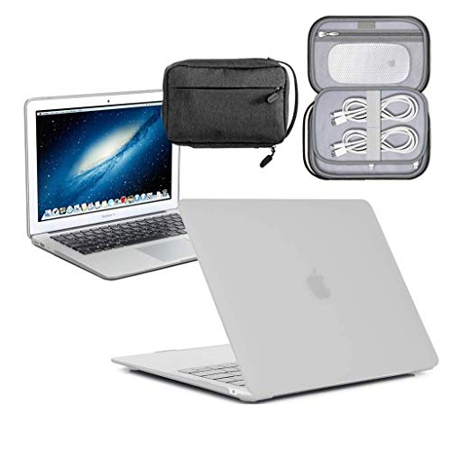 GUPi - Clear Frosted Hard Shell Case, Cover with Water Resistant Accessory Bag for Apple MacBook [13-inch Air - A1932] - [2018-2019] (Retina)