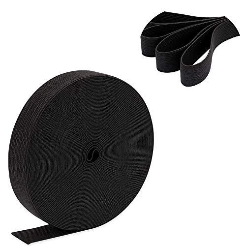 FLZONE 25MM 10 Metros Banda Elástica Negra Bandas Elásticas Planas Cordón Elástico para Coser Cinturones y Manualidades