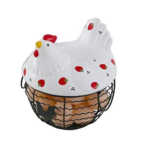 Sanfiyya Sala de cerámica del Hierro Huevo Almacenamiento Hogar Cesta de Frutas Cesta del almacenaje de Estar Cocina Decoración Fresa gallina patrón Agua Cesta Puede almacenar 25 Huevos 1 Set