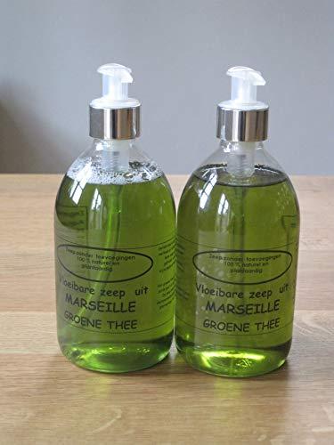 Vloeibare Marseille zeep pompje 2x 500 ml Groene Thee
