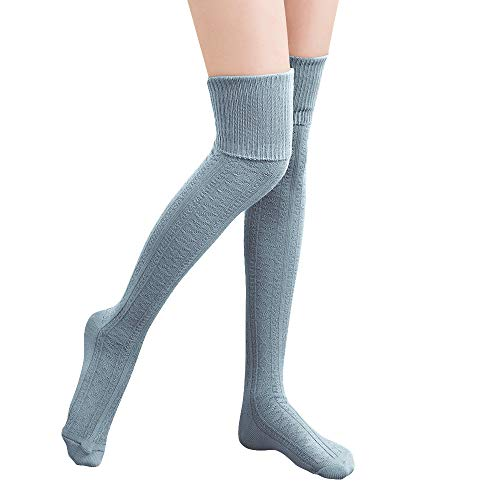 HITOP 1 Paar Damen Overknee Überknie Kniestrümpfe Mädchen Hold-up-Strümpfe Retro Schüler Knitting Sportsocken (Hellblau)