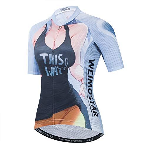weimostar Cycling Jerseys Womens Bike Running Biking Outdoor Sports Tops Cartoon Handsome Figure Sexy Girl M