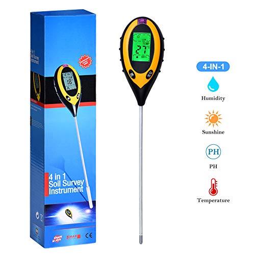 Queta 4-in-1 Bodentester, Feuchtigkeitsmessgerät, pH-Wert, Temperatur, Sonnenlicht, Lux Intensitätsmessgerät für drinnen und draußen, Garten, Bauernhof, Rasen(Batterie im Lieferumfang enthalten)