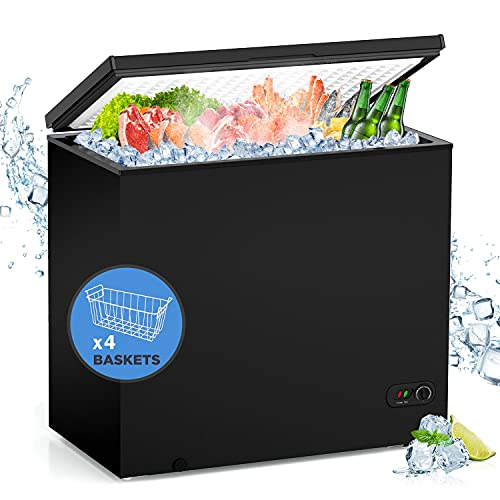 WATOOR 7.0 Cu.ft Chest Freezer Small Deep Freezer Mini Outdoor Chest Freezers Upright with 4 Removable Baskets 7 Temperature Settings Black